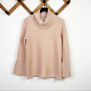 CALVIN KLEIN pink shimmer turtleneck sweater✨S